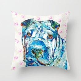 Colorful Shar Pei Dog Art by Sharon Cummings Throw Pillow