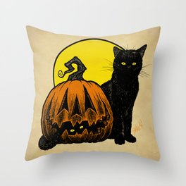 Still Life with Feline and Gourd Throw Pillow