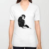 monkey V-neck T-shirts featuring Monkey by takmaj