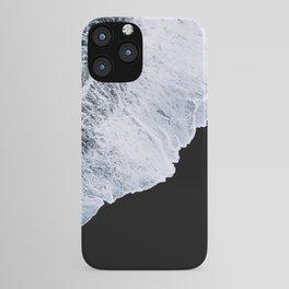 Waves crashing on a black sand beach – minimalist Landscape Photography iPhone Case