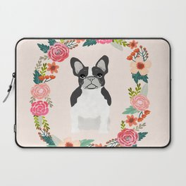 french bulldog black and white floral wreath flowers dog breed gifts corgis Laptop Sleeve
