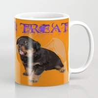 rottweiler Mugs featuring Cute Rottweiler Halloween Trick or Treat Greeting  by taiche
