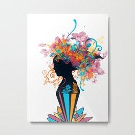 Woman in flowers Metal Print