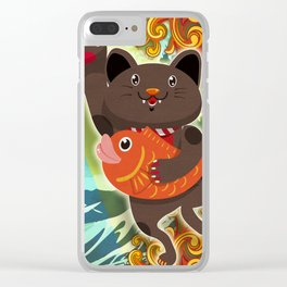 Beckoning cat:Black Clear iPhone Case