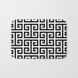 Large Black and White Greek Key Pattern Bath Mat