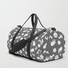 The Little Farm Animals, white on grey Duffle Bag