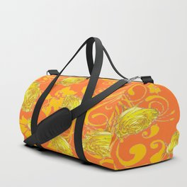 AWESOME CUMIN ORANGE & YELLOW ROSE SCROLLS  ART Duffle Bag