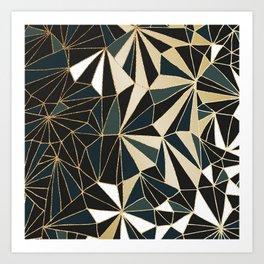 New Art Deco Geometric Pattern - Emerald green and Gold Art Print
