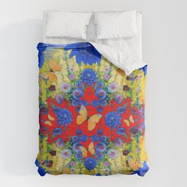 VERY BLUE  FLOWERS YELLOW BUTTERFLIES PATTERN ART Comforters