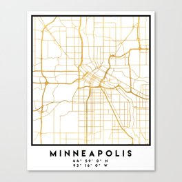 MINNEAPOLIS MINNESOTA CITY STREET MAP ART Canvas Print
