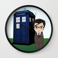 dr who Wall Clocks featuring Kokeshi Dr. Who by Pendientera