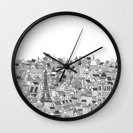 Paris (black and white version) Wall Clock