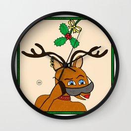 Rudolph Under the Mistletoe Wall Clock