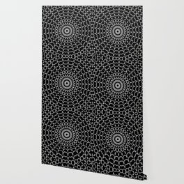 Mandala Fractal in Black and White Wallpaper