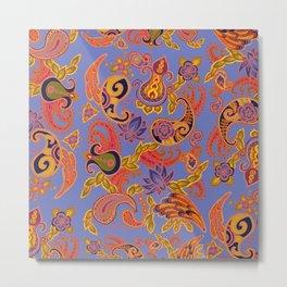 Paisley of '71 - small orange on blue Metal Print