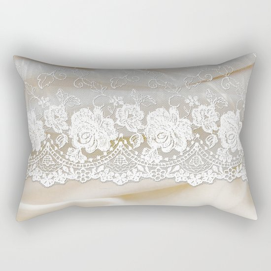 Bride lace - Luxury white floral elegant lace on cream silk fabric on #Society6 Rectangular Pillow