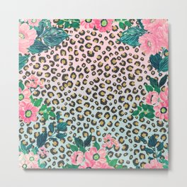 Girly Pink Mint Ombre Floral Leopard Print Glitter Image Metal Print