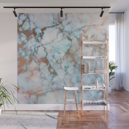 Rose Marble with Rose Gold Veins and Blue-Green Tones Wall Mural