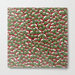 Sad christmas frogs pattern Metal Print