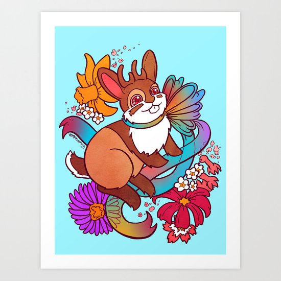 Springtime Jackalope Art Print