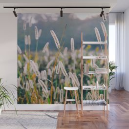 Field of Wild Weeds Morning Glow Wall Mural