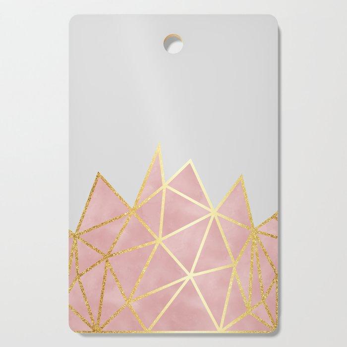 Pink & Gold Geometric Cutting Board