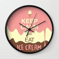 keep calm Wall Clocks featuring Keep Calm  by Graphic Tabby