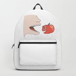 man trying to eat apple Backpack