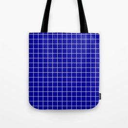 Duke blue - blue color - White Lines Grid Pattern Tote Bag