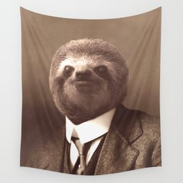 Gentleman Sloth in Sepia Tone Wall Tapestry