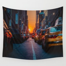 New York City Taxi Sunset (Color) Wall Tapestry