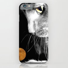 Silver Cat and Moon iPhone 6 Slim Case