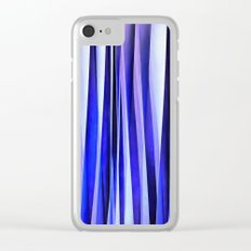 Peace and Harmony Blue Striped Abstract Pattern Clear iPhone Case