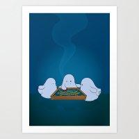 ouija Art Prints featuring Ouija Board by mangulica illustrations