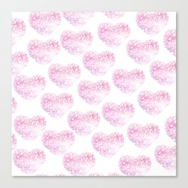 Blush pink watercolor abstract watercolor hearts pattern Canvas Print