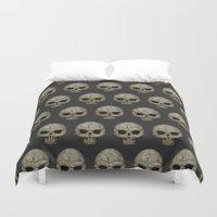 polkadot Duvet Covers featuring Odd Skull Polkadot by Luke Clark