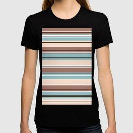 Striped Design Browns Blue Cream & White T-shirt