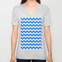 White and Brandeis Blue Horizontal Zigzags Unisex V-Neck