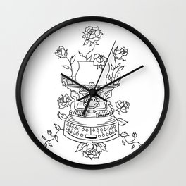 Antique Typewriter Entwined in Roses Wall Clock