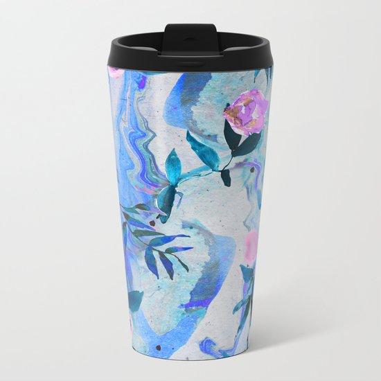 Floral Marble Swirl Metal Travel Mug