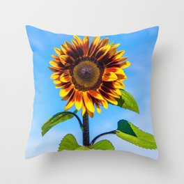 Sunflower Standing Tall by Reay of Light Throw Pillow