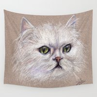 persian Wall Tapestries featuring Persian cat by Pendientera