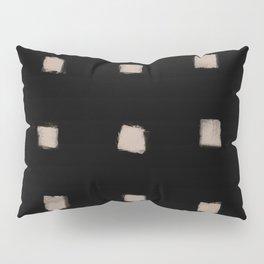 Polka Strokes Gapped - Nude on Black Pillow Sham