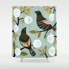 winterbirds shower curtain