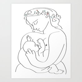 Picasso breast feeding mother, beautiful relationship, mothers day gift, anti war art, peaceful positive art Art Print