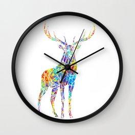 Colorful Watercolor Geometric Deer Wall Clock