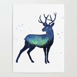 Galaxy Reindeer Silhouette with Northern Lights Poster