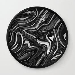 Black Gray White Silver Marble #1 #decor #art #society6 Wall Clock