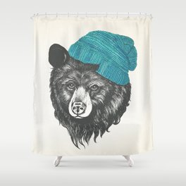 bear in blue Shower Curtain