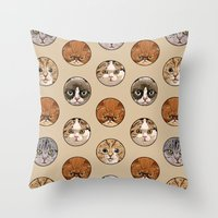 polka Throw Pillows featuring Polka Meaw by Huebucket